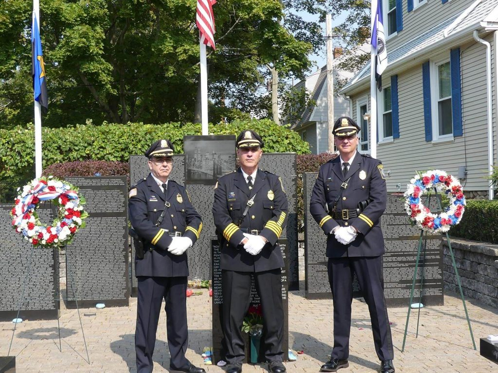 (L-R) Captain John Rogers, Chief Michael Botieri, Captain Bruce McNamee at the 9/11 Memorial Service